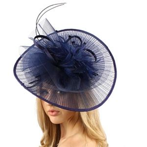 large navy feather Derby fascinator EUC